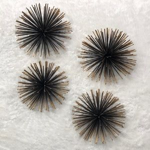 Half sphere spiked metal black & gold wall hanging